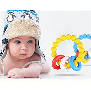 ZZM Silicone Teething Rings -Soft and Chewable Bracelet Toys for Baby to Soothing Pain – Baby Molar Toys (Blue)
