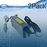 2 Pack UL Listed Waterproof IP68 LED Power Supply 12 Volt 60W DC Driver Transformer Low Voltage Output With 4.9FT/1.5M Wire