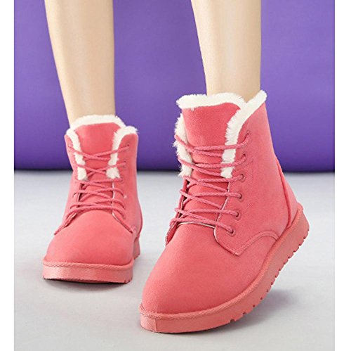 Women Ankle Short Martin Boots Leather Suede Plush Flat Heel Winter Warm Casual Shoelace Snow Cotton Shoes PINK-38 Ap5ihipf