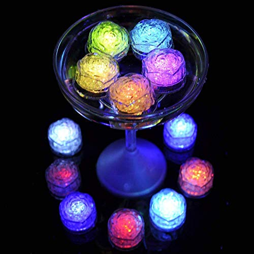 Simulation Ice Cube - 12pcs Plastic Multi-Color Luminous Ice Cube with Colorful Light for Halloween Party Wedding Club Bar Champagne Tower Decoration (24PCS) by CLOVERHOME (Image #5)