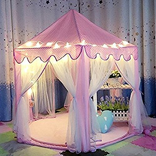 NO.7Artisan Kids Tent Princess Castle Girls Playhouse Tunnel with 23 Feet and 50 Led Star Light String,Indoor and Outdoor Children Large Toy Gift