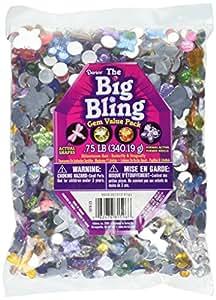 Darice Big Bling Shapes Gem Value Pack Rhinestone, Multicolor