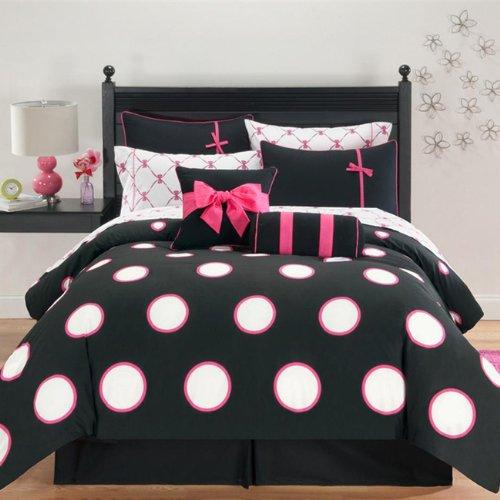 Hot Pink & Black Polka Dots Twin Comforter Set (8 Piece B...