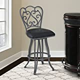 Armen Living LCCEBAVB26 Celeste 26″ Counter Height Swivel Barstool in Vintage Black Faux Leather and Cadet Grey Metal Finish Review