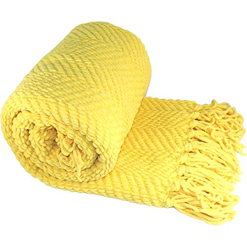 - Home Soft Things Knitted Tweed Throw Couch Cover Blanket, 50 x 60, Sunshine Yellow