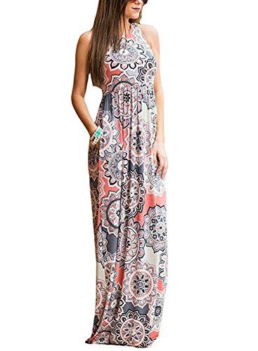 - Jug&Po Women's Floral Print Sleeveless Long Maxi Casual Dress (Small, Grey1)