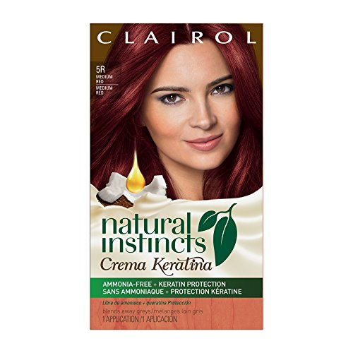 Clairol Natural Instincts Crema Keratina Hair Color Kit, Medium Red 5RR Raspberry Creme