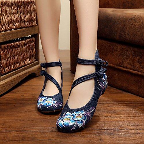 &QQ Zapatos bordados, lenguado de tendón, estilo étnico, hembrashoes, moda, cómodo, zapatos de baile navy blue