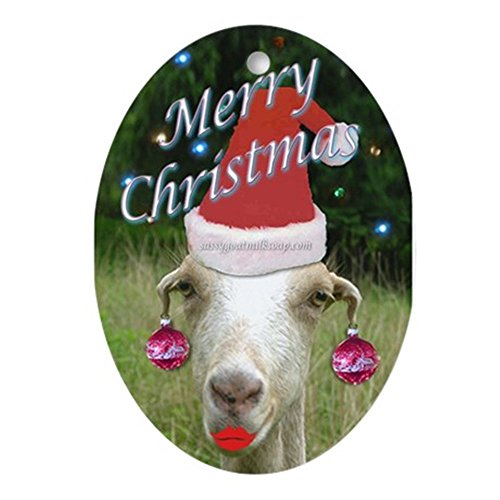 CafePress Ruby The Sassy Christmas Goat Ornament (Oval) Oval Holiday Christmas ()