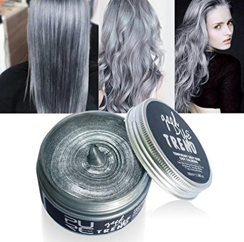 Plovex Color Hair Wax Styling Pomade Silver Grandma Grey Temporary Hair Dye Disposable Fashion Molding Coloring Mud Cream (Grey)