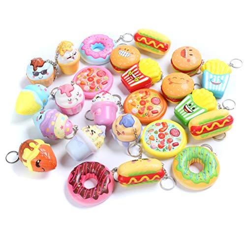 Sinofun 8PCS Random Kawaill Small Food Squishy Package Set, Including Cake, Pizza, Hamburger, Ice Cream, Doughnut, Hot Dog, Slow Rising Keychain Education Toys (Ice Cream Keychain)