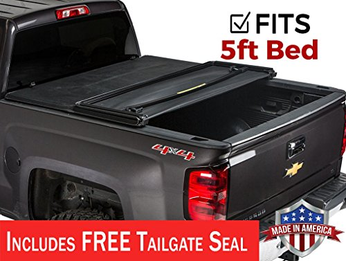 Bed Colorado Rails Chevrolet (Gator ETX Soft Tri-Fold Truck Bed Tonneau Cover | 59112 | fits Chevy/GMC Canyon/Colorado 2015-19 (5 ft bed))