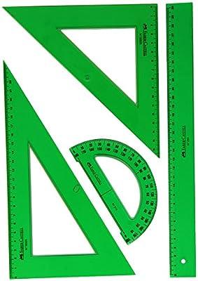 Faber Castell 65021 - Pack escolar con escuadra, cartabón, regla y semicírculo, color verde: Amazon.es: Oficina y papelería