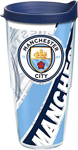 Tervis 1242315 Premier League - Manchester City Insulated Tumbler with Wrap and Navy Lid, 24 oz, Clear