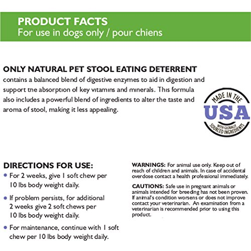 Only Natural Pet Stool Eating Deterrent for Dogs and Puppies - Stop Stool Eating Coprophagia with Digestive Enzymes- Pet Supplement - 60 Bacon Flavored Soft Chews by Only Natural Pet (Image #2)