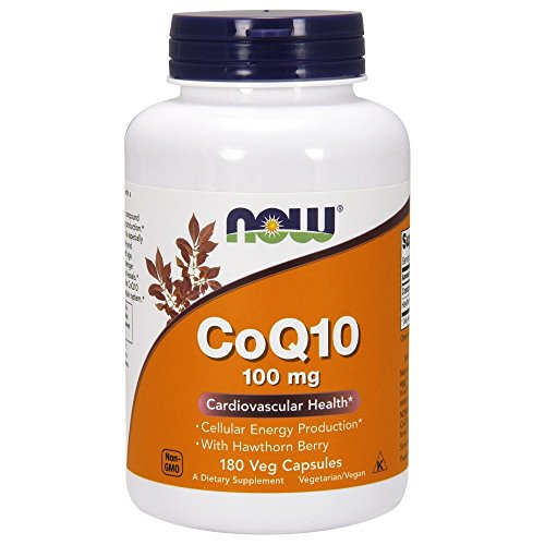 NOW CoQ10 100 mg with Hawthorn Berry,180 Veg Capsules by NOW Foods
