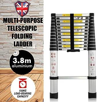 3,8 m multiusos escalera telescópica plegable 13 pasos escalera extensible de aluminio para Loft oficina en casa – Portátil de goma antideslizante para escalera: Amazon.es: Bricolaje y herramientas