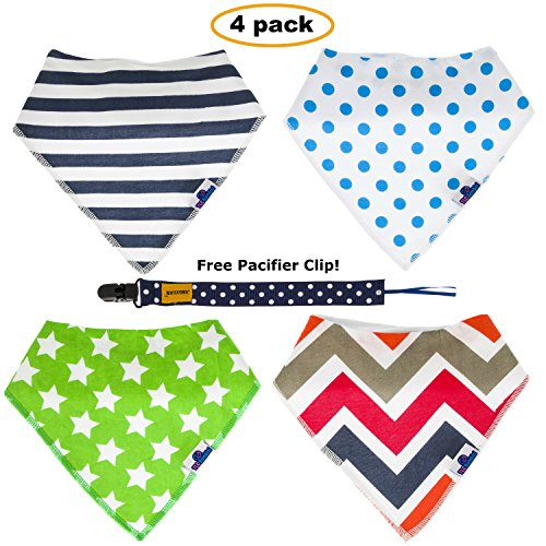 tlc-bambini-bandana-bibs-set-4-pack-premium-quality-organic-cotton-bibs-free-pacifier-clip-perfect-f
