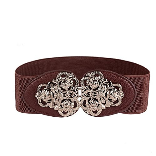 Leather Waist Cinch (AWAYTR Women's Fashion Vintage Wide Elastic Stretch Waist Belt Waistband ( Coffee)