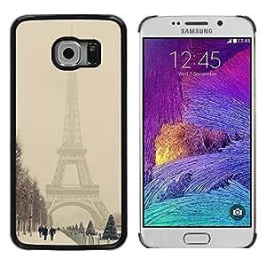 TopCaseStore / la caja del caucho duro de la cubierta de protección de la piel - Winter Eifel Tower Pastel City Romantic - Samsung Galaxy S6 EDGE SM-G925