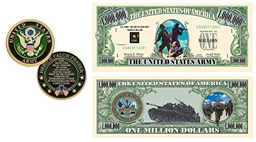 US Army United States Army Challenge Coin with Prayer 1-Pack (One Coin) Plus Commemorative Million Dollar Bill