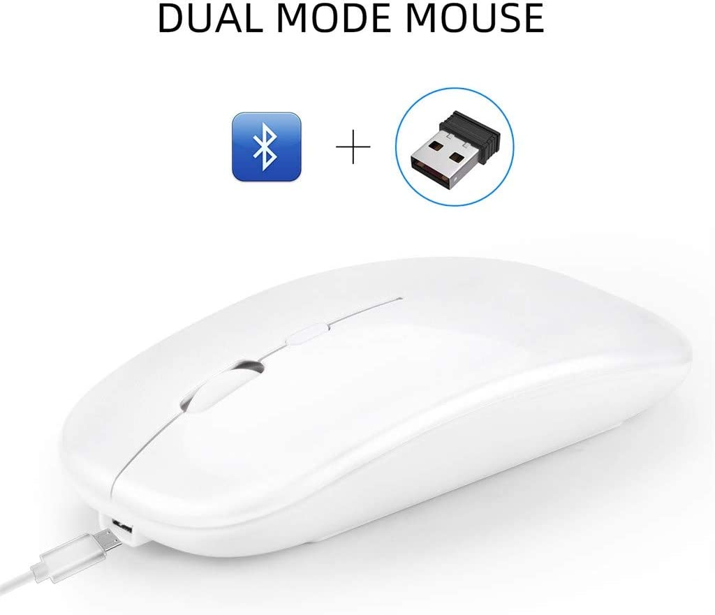 Afazfa M90 Rechargeable Wireless BT 5.0 USB Dual Mode Gaming Mouse Mice Compatible with PC Laptop Rose Gold
