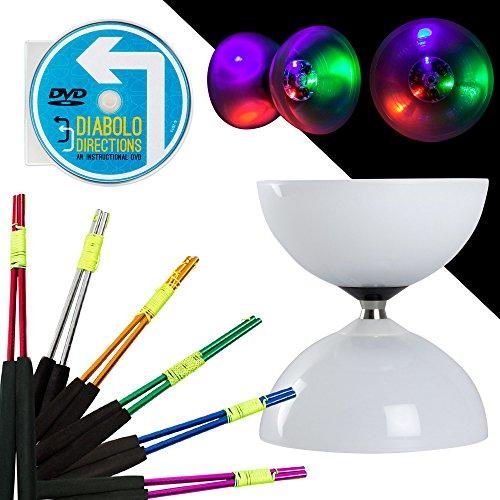 - Juggle Dream LED Big Top Bearing Diabolo Set with Coloured Aluminium Diablo Sticks & Diabolo Directions Instruction DVD! Select Stick Colour!