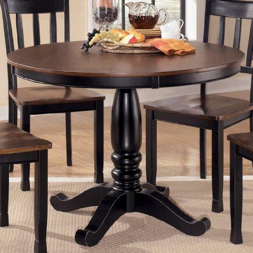 Signature Design by Ashley D580-15T Owingsville Collection Dining Room Table Top, Black/Brown by Signature Design by Ashley