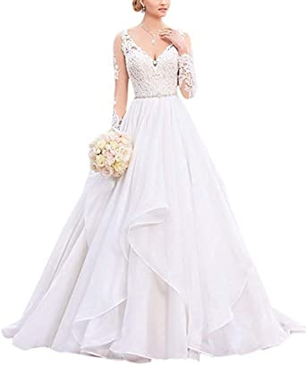 HUINI Robe de Mariée Princesse Organza Robe