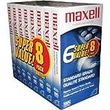 Maxell 214150 T120GX/8PK VHS Cassette Standard Grade T-120, 6 Hour -