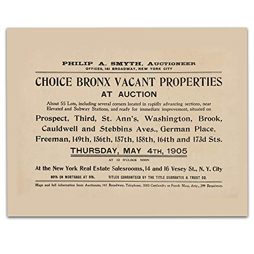 (Bronx New York Vintage Art - Real Estate Auction - Circa 1905-11 x 14 Unframed Print - Great Housewarming Gift. New York Themed Office Decor. Great Gift for A Real Estate Agent or Developer)