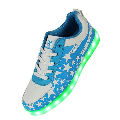 Regalo Colori di da Scarpe per 7 Natale con USB Giorno Promenade Unisex Luci Lampeggiante Partito del Certificato Il Tennis LED con Blu del Carica Shinmax Stella di CE Scarpe wXxq8aOq