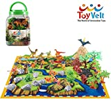 50 Piece Dinosaur Play Set: Ultimate Educational Toy of 20 Realistic Dinosaurs + 29 Trees & Rocks + PlayMat | Walking Dinos with Moving Jaws to Develop Kids Imagination | Top Dinosaur Gift Set