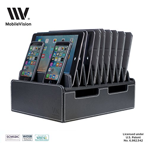 MobileVision 10-Port USB Charging Station in Executive PU Black Leather for Smartphones & Tablets Family-Sized or use in Corporate Offices, Classrooms - Executive Charging Station
