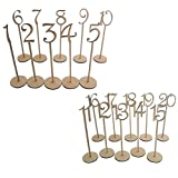 Pixnor 1 to 20 Wooden Table Numbers with Holder Base for Wedding Party Decoration Pack of 20