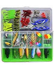 SKEIDO 101 Pcs Fishing Lure Set Hard and Soft Bait Hook with Tackle Box