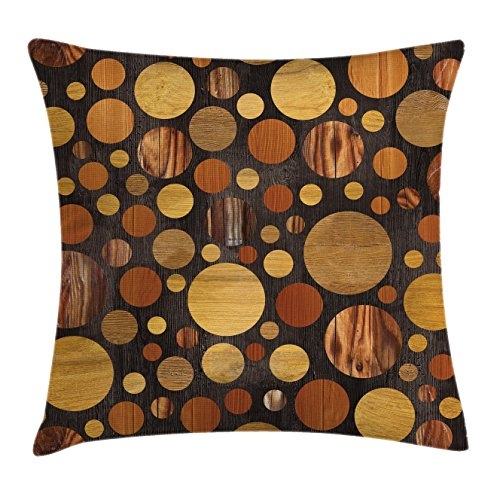 Ambesonne Wooden Throw Pillow Cushion Cover, Brown Wood Textures Abstract Pattern Circles Timber Oak Natural Grain Style Art Print, Decorative Square Accent Pillow Case, 20