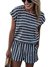 06f59069708e NANYUAYA Women Stripe Backless Loose Casual Summer Shorts Short Sleeve  Bohemian Romper
