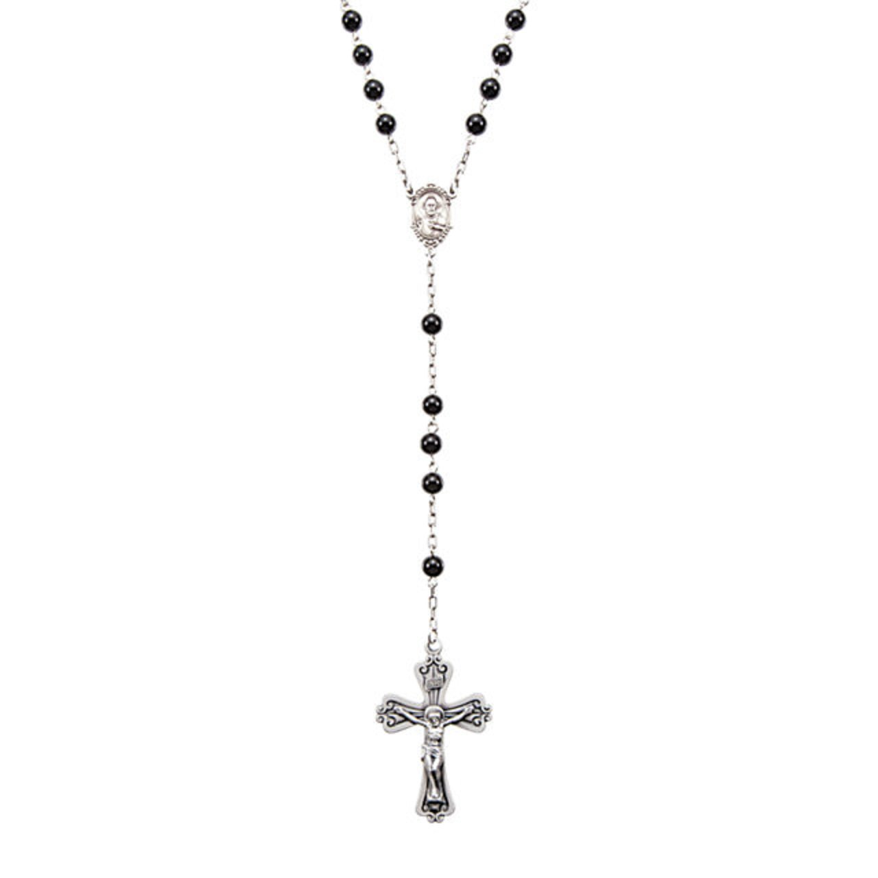 Roxx Fine Jewelry Black Onyx and Sterling Silver Ornate Sacred Heart Center 26'' Rosary Necklace 6mm Beads by Roxx Fine Jewelry (Image #1)