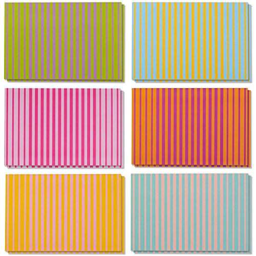 48 Pack Every All Occasion Blank Greeting Cards Bulk Box Set 6 Colorful Striped Designs, Purple, Orange, Green, Yellow, Blue, Envelopes Included, 4 x 6 Inches by Best Paper Greetings