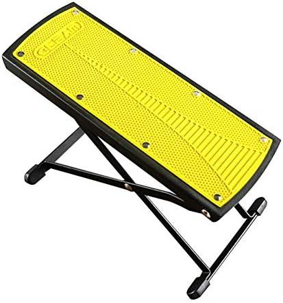 ZHAOHUI フットレスト 足置き台 鋼 滑り止めゴム 人間工学に基づいた 調整可能な6ポジションの高さ 折り畳み可能 (Color : Yellow)