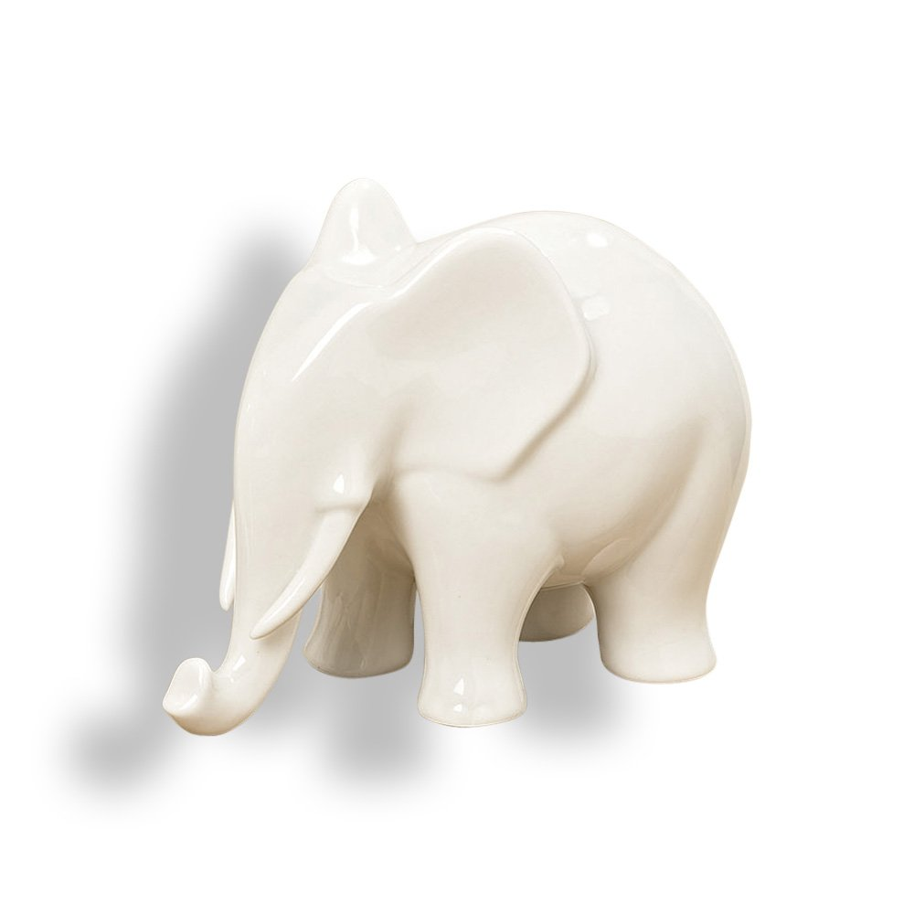 Whole House Worlds The Elegant Elephant, White Porcelain Figurine, 6 1/4 Inches Long, By