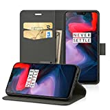 EasyAcc Case for OnePlus 6, Leather Wallet Case Flip Cover with Kickstand Card Holder Card Slots Black PU Leather Compatible with OnePlus 6