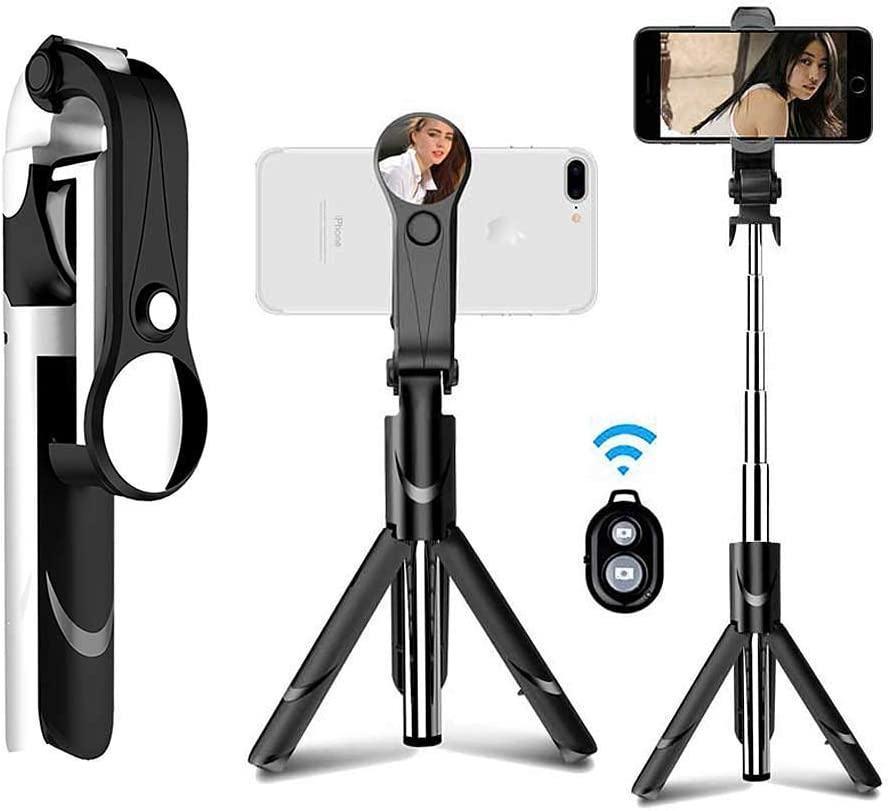 Remote Control of Video Recording High-Definition Rear-View Mirror Convenient and Fashionable for Home School Company ERJQ Bluetooth Selfie Stick Unique Tripod Function