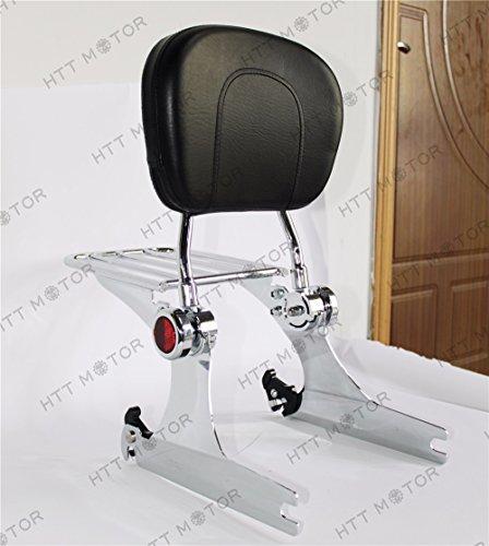 HTTMT ASBB07- Chrome Adjustable Detachable Backrest Sissy Bar Luggage rack Compatible with Harley Dyna 02-05
