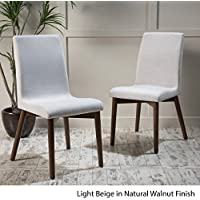 Katherine Light Beige Fabric/ Walnut Finish Dining Chair (Set of 2)