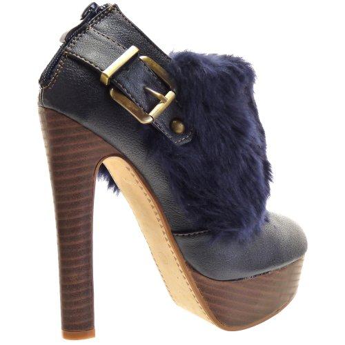 Kickly–Zapato Mode zapato plataforma Stiletto Tobillo mujer leopardo Talón Bloque 14cm–Interior–Azul/Oro
