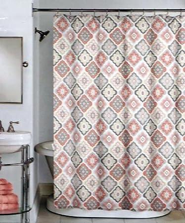 Peri Fabric Shower Curtain Salmon Orange, Pink, Charcoal Gray, Tan  Geometric Pattern