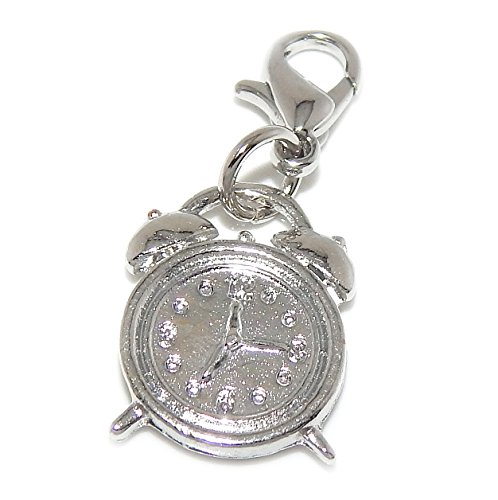 Dangling Silver Clock - Silver Plated Dangling Clip-on