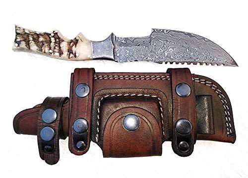 Sheath No Handle - Ottoza Custom Handmade Damascus Tracker Knife with Ram Horn Handle - Survival Knife - Camping Knife - Damascus Steel Knife - Damascus Hunting Knife with Sheath Horizontal Scout Knife No:119